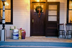 Christmas presents on porch