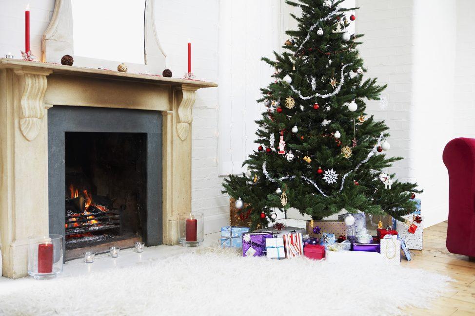 Christmas tree and fireplace save money this Christmas