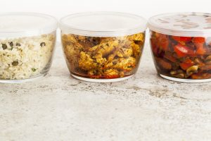leftover dinner meal in glass containers